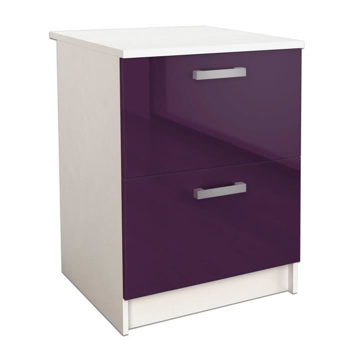start caisson bas de cuisine l 60 cm aubergine brillant achat vente elements bas caisson. Black Bedroom Furniture Sets. Home Design Ideas