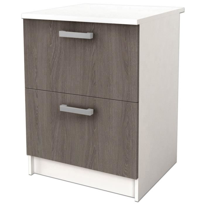 start meuble bas casserolier avec plan de travail l 60 cm blanc et d cor ch ne taupe achat. Black Bedroom Furniture Sets. Home Design Ideas