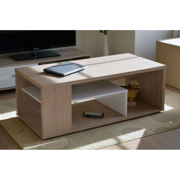 Melinga table basse ch ne c rus et blanc achat vente table basse melinga table basse ch ne - Table basse bois blanc ceruse ...