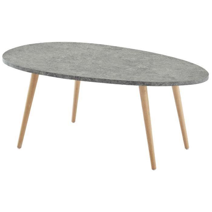 STONE Table basse ovale scandinave effet béton foncé - L 98 ...