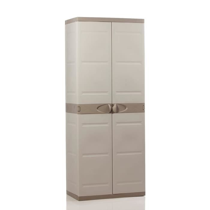plastiken armoire haute de rangement 2 portes avec. Black Bedroom Furniture Sets. Home Design Ideas