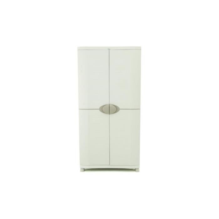 plastiken armoire haute de rangement avec penderie 2 portes tag res 90cm hauteur 184cm space. Black Bedroom Furniture Sets. Home Design Ideas