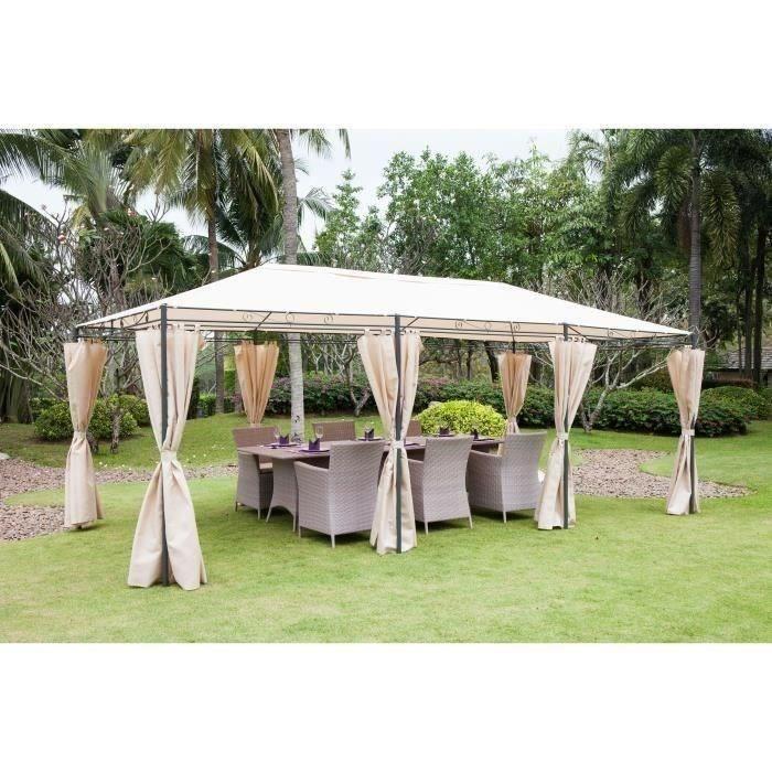 Tonnelle de jardin - En acier polyester - 6 x 3 m - Beige