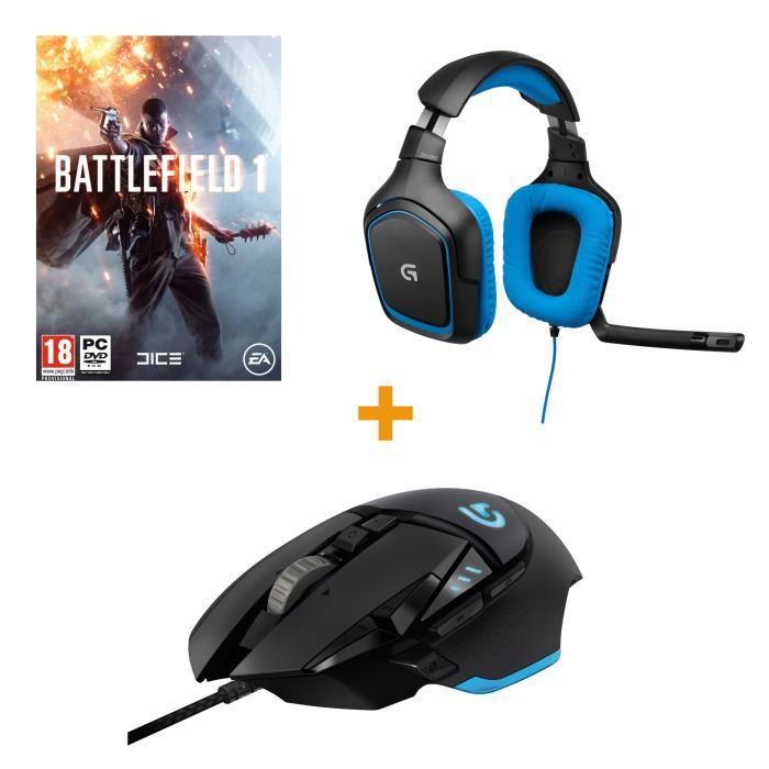 logitech souris gamer g502 proteus spectrum micro casque gamer g430 battlefield 1 jeu pc. Black Bedroom Furniture Sets. Home Design Ideas