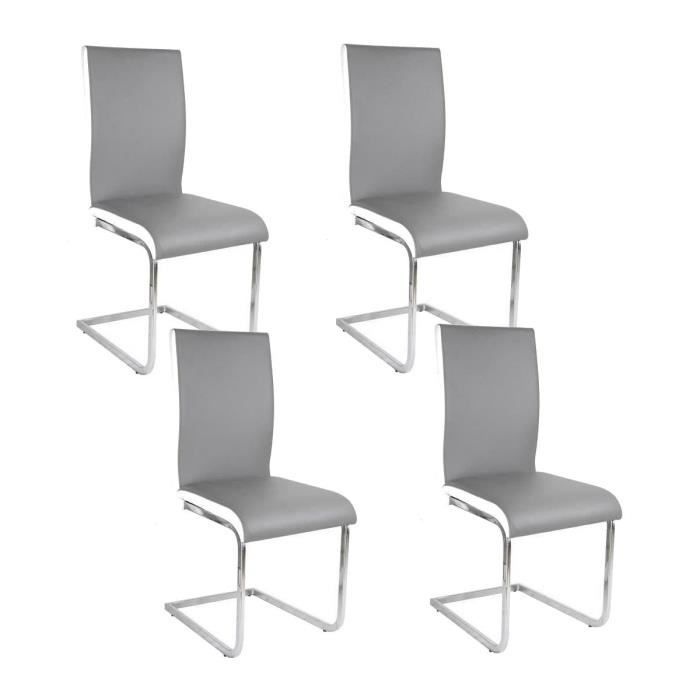 lea lot de 4 chaises de salle manger blanches grises. Black Bedroom Furniture Sets. Home Design Ideas