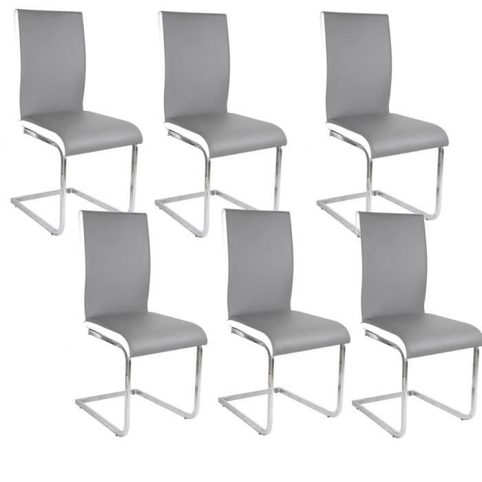 lea lot de 6 chaises de salle manger blanches grises. Black Bedroom Furniture Sets. Home Design Ideas