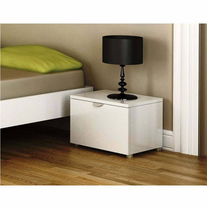 chevet metro 1 t blanc laqu achat vente chevet chevet. Black Bedroom Furniture Sets. Home Design Ideas