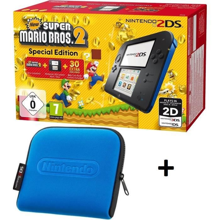Pack nintendo 2ds bleue new super mario bros 2 housse for Housse nintendo 2ds xl