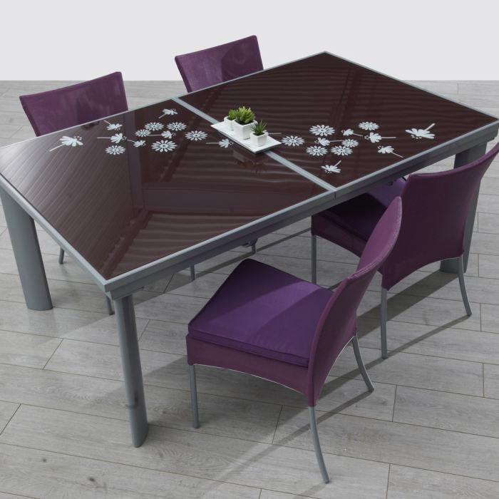 table jardin verre avec rallonge. Black Bedroom Furniture Sets. Home Design Ideas