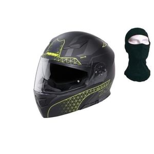 CASQUE MOTO SCOOTER NOX Casque modulable N965 Rays - Jaune + cagoule