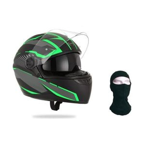 CASQUE MOTO SCOOTER STORMER Casque Intégral Pusher Xenon Vert + Cagoul