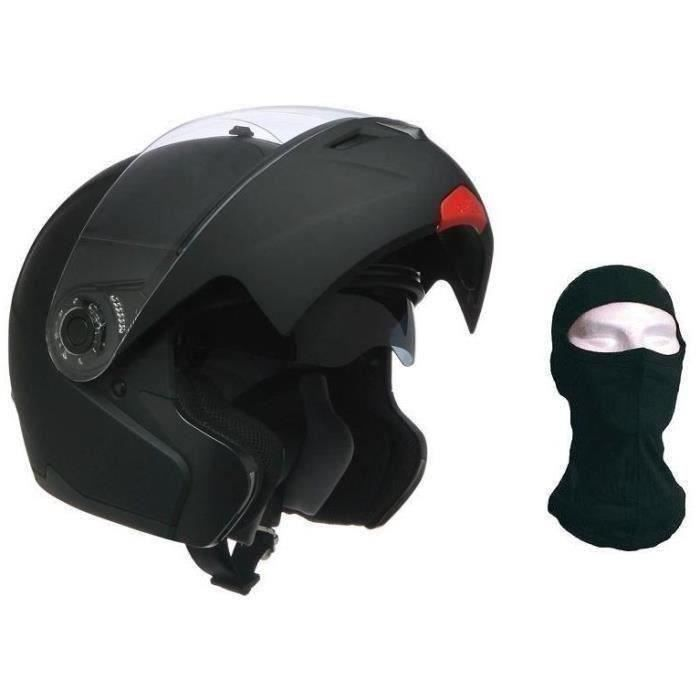 CASQUE MOTO SCOOTER AMX Casque moto modulable noir mat + Cagoule
