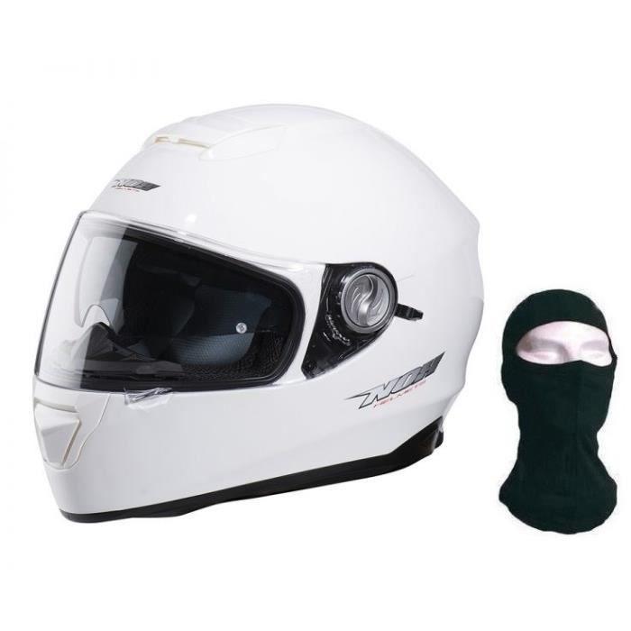 CASQUE MOTO SCOOTER NOX Casque Intégral N301 Blanc + Cagoule