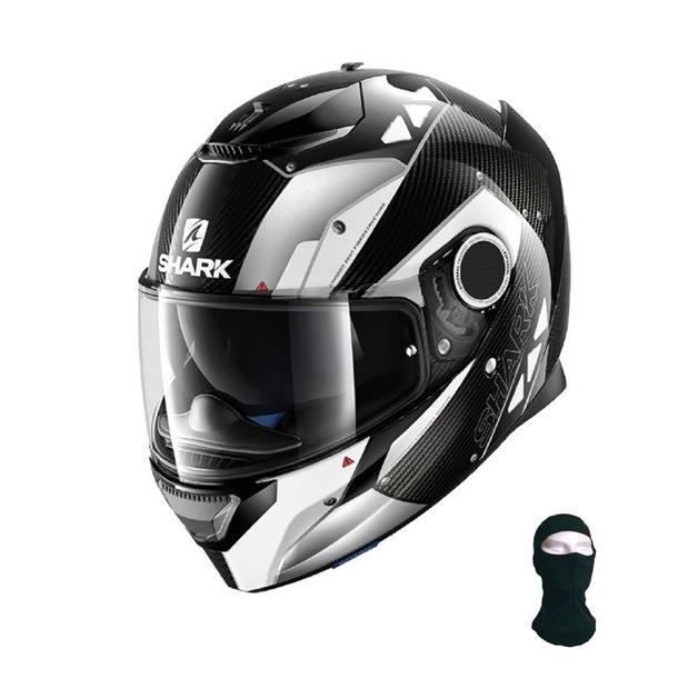 shark casque moto spartan carbon bionic noir blanc cagoule achat vente casque moto scooter. Black Bedroom Furniture Sets. Home Design Ideas