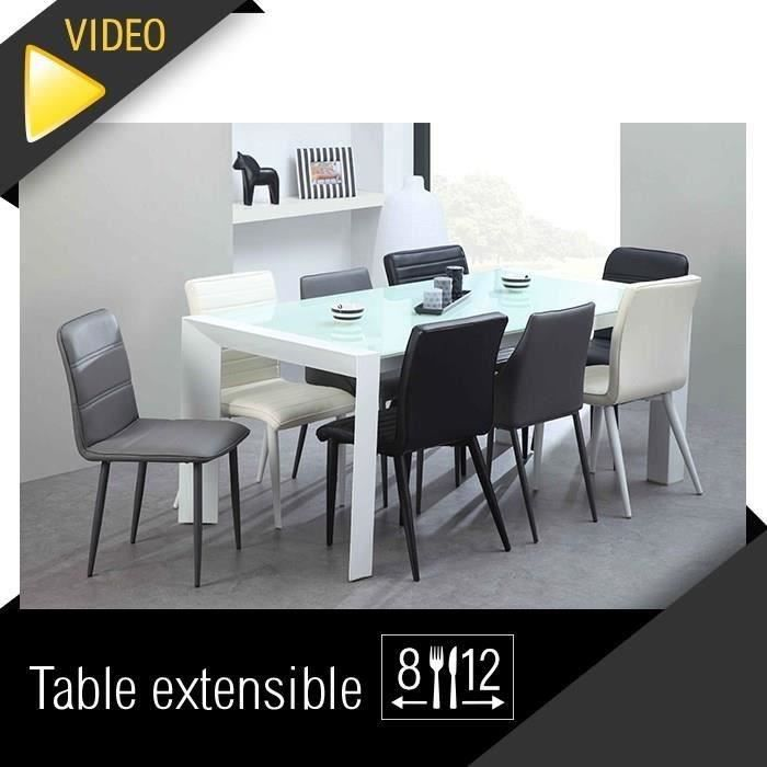 Milano table extensible 180 270cm verre blanc for Table verre blanc extensible