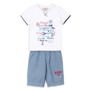 Ensemble de vêtements LEE COOPER  - Ensemble T-shirt  Blanc + Short Bleu