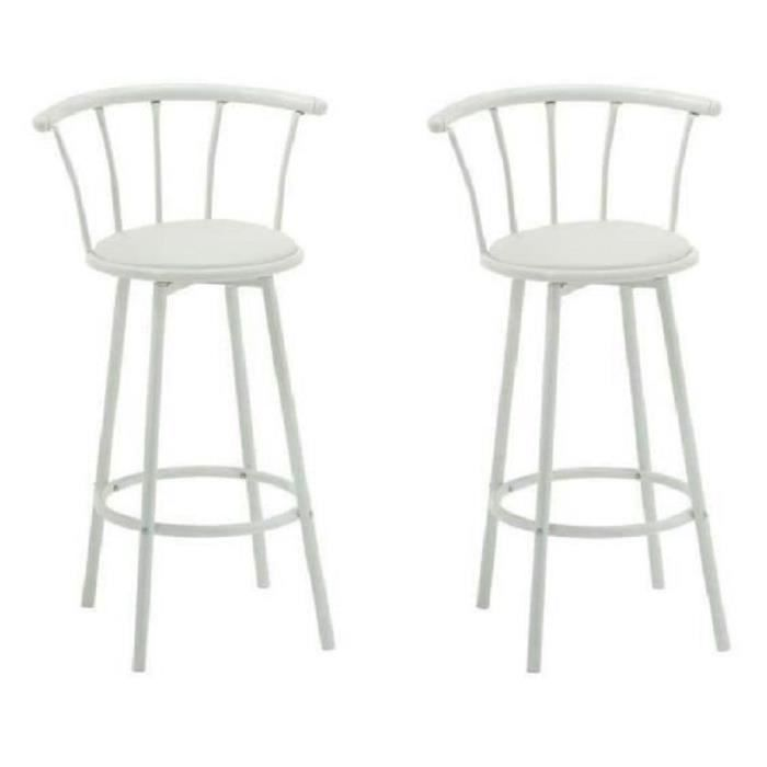 bistrot lot de 2 tabourets de bar avec assise pivotante blanc achat vente tabouret de bar. Black Bedroom Furniture Sets. Home Design Ideas