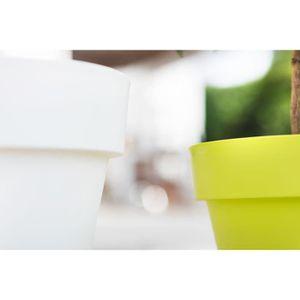 JARDINIÈRE - BAC A FLEUR Pot rond plastique blanc brillant Ø 18 cm