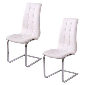 CHAISE LUGANO Lot de 2 chaises de salle à manger - Simili