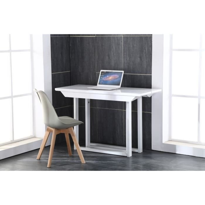back table console extensible 120x50 250cm blanc laqu achat vente console extensible back. Black Bedroom Furniture Sets. Home Design Ideas