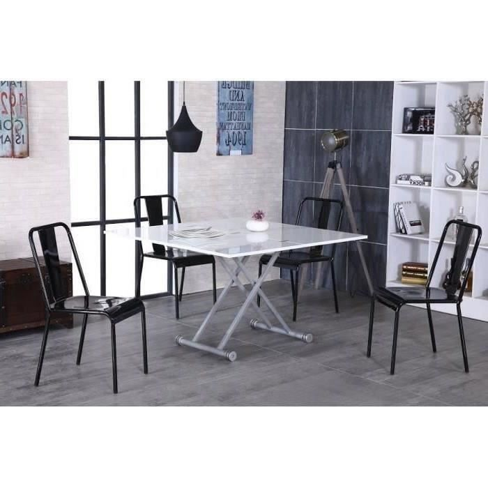 upper table basse transformable en table manger style contemporain en m lamin blanc mat. Black Bedroom Furniture Sets. Home Design Ideas
