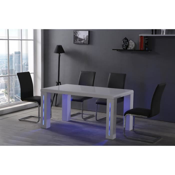 milwaukee table manger avec clairage led 6 personnes 150x85 cm laqu blanc brillant achat. Black Bedroom Furniture Sets. Home Design Ideas