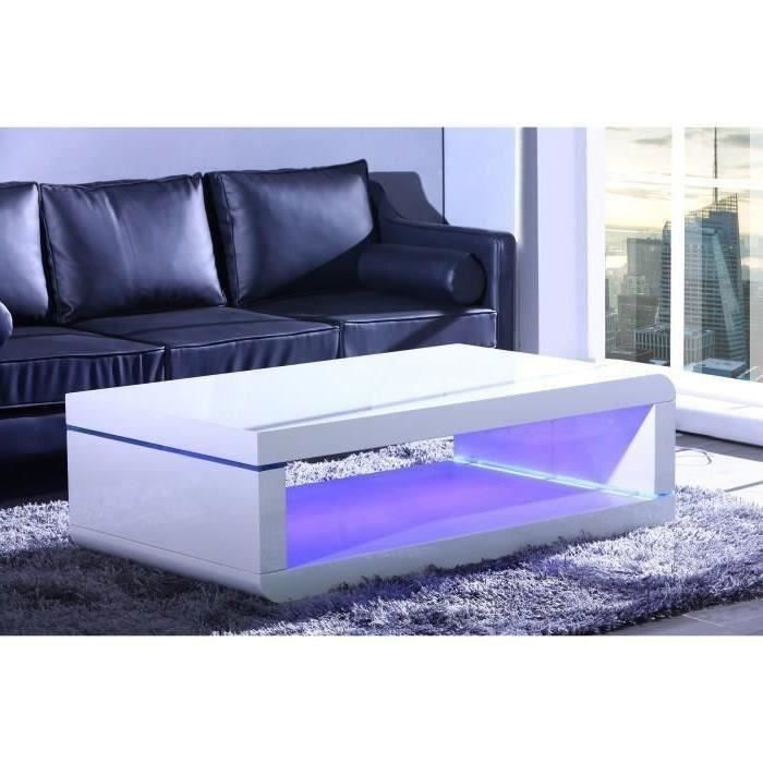 biwan table basse avec clairage led 140cm blanc laqu achat vente table basse biwan table. Black Bedroom Furniture Sets. Home Design Ideas