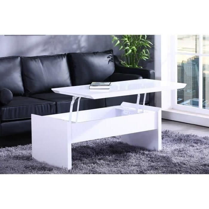 Phoenix table basse avec plateau relevable 110x55cm blanc for Table basse scandinave plateau relevable