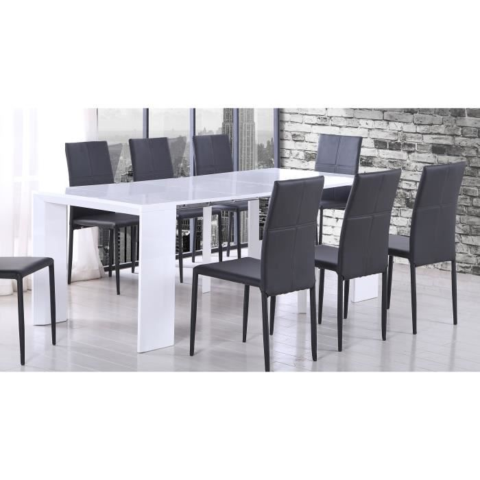 Tack table console extensible 48 250x90cm laqu blanc - Table console extensible laque ...