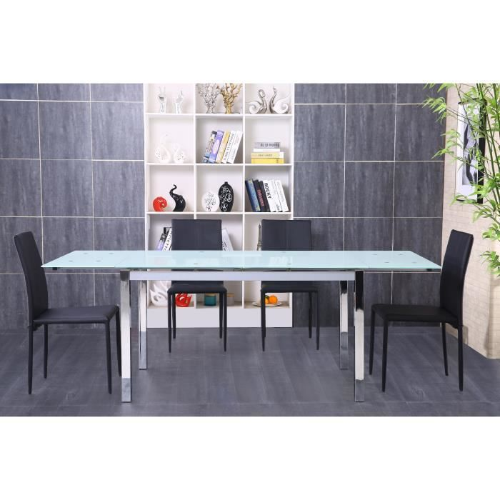 Max table manger extensible en m tal et verre tremp 4 6 personnes 140 22 - Table extensible verre trempe ...