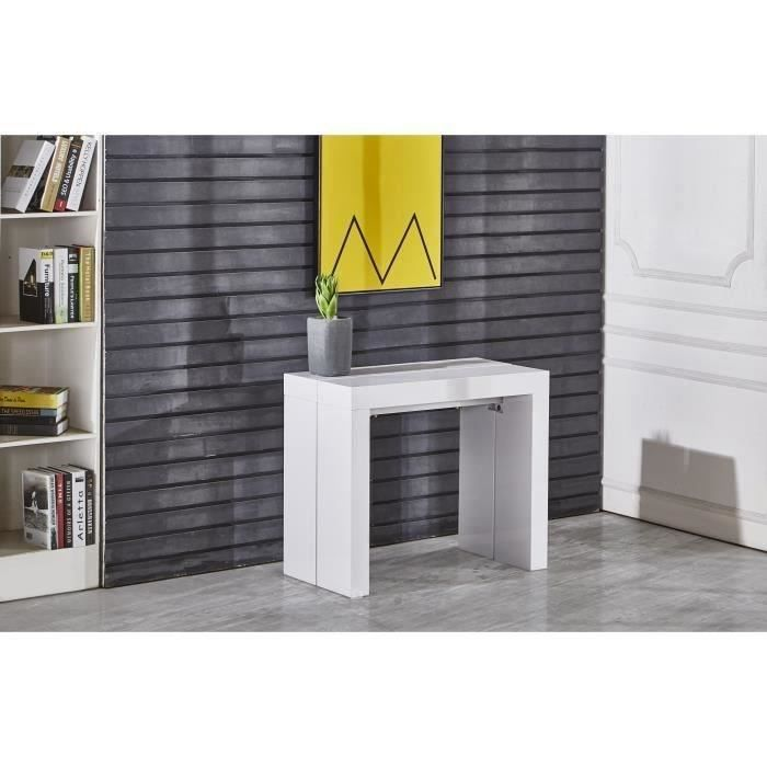Zack console extensible 250cm laqu blanc achat vente for Table laquee blanche avec rallonge