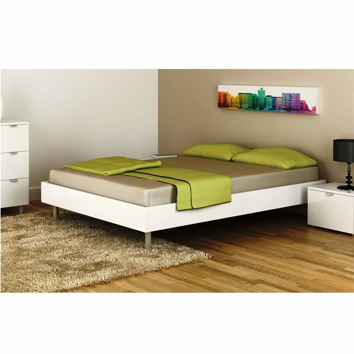 lit metro adulte 140 cm laqu blanc achat vente. Black Bedroom Furniture Sets. Home Design Ideas