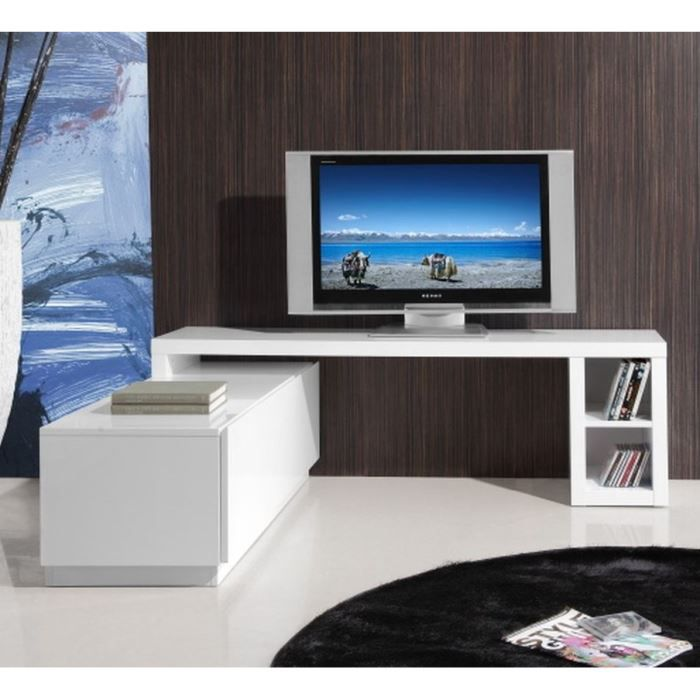 cardite meuble tv laqu blanc brillant l160 286cm achat vente meuble tv cardite meuble tv. Black Bedroom Furniture Sets. Home Design Ideas