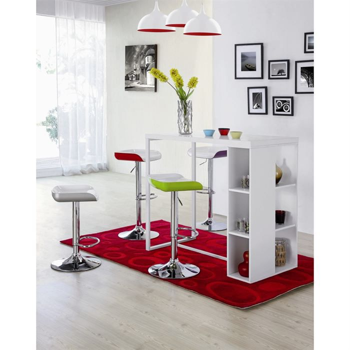 Barna Table Bar 4 Personnes 120x60 Cm Laqu Blanc
