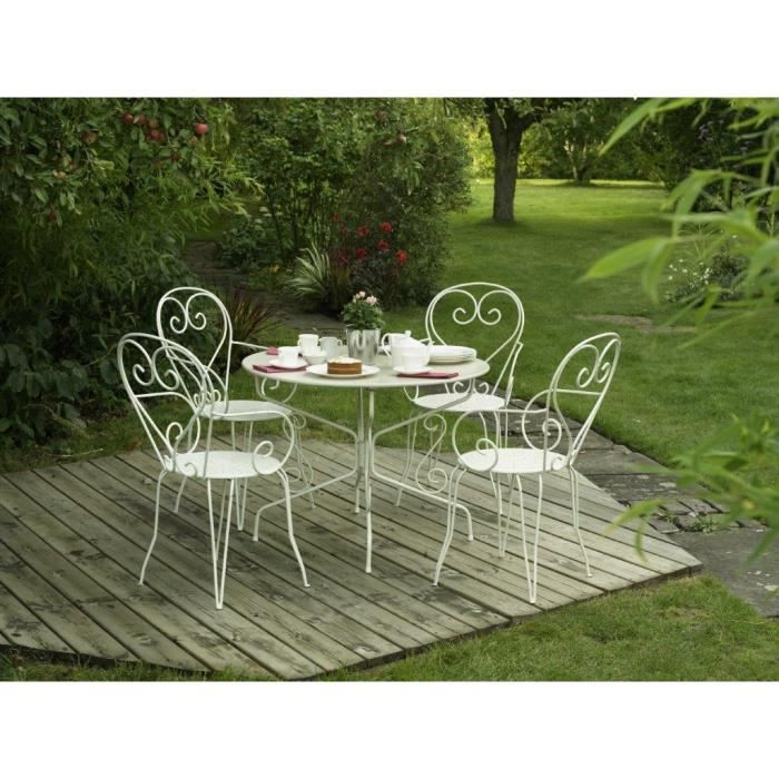 table de jardin romantique en fer forg avec trou central pour parasol 95 cm blanc achat. Black Bedroom Furniture Sets. Home Design Ideas