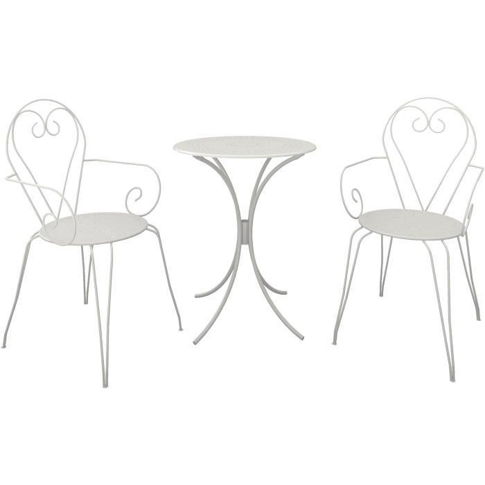 Set Table de jardin romantique en fer forgé 60 cm + 2 fauteuils - Blanc