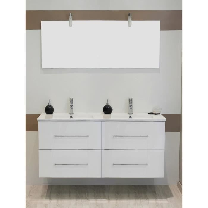 shiloh salle de bain compl te double vasque laqu blanc achat vente salle de bain complete. Black Bedroom Furniture Sets. Home Design Ideas