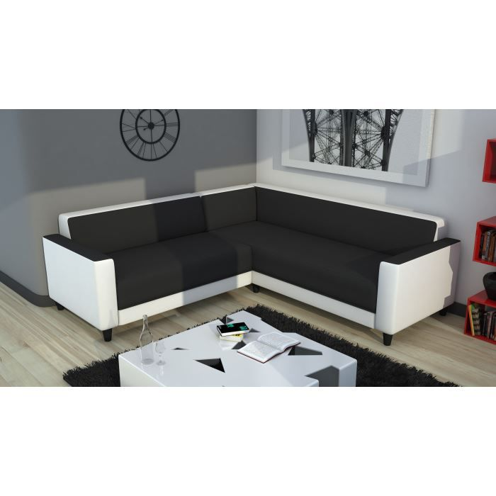 firr canap d 39 angle xl simili et tissu 5 places 209x209x70 cm gris et blanc achat vente. Black Bedroom Furniture Sets. Home Design Ideas