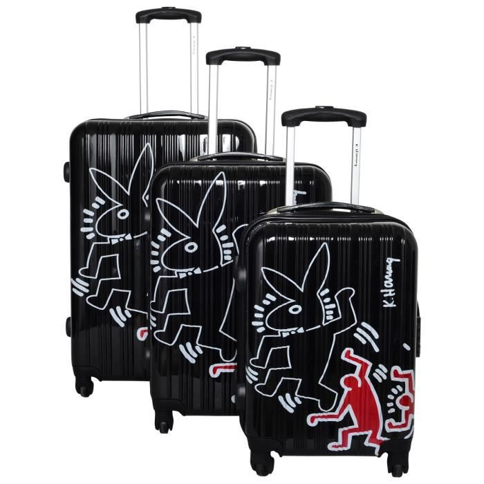 SET DE VALISES KEITH HARING 3 valises trolley 4 roues 48/58/68 cm