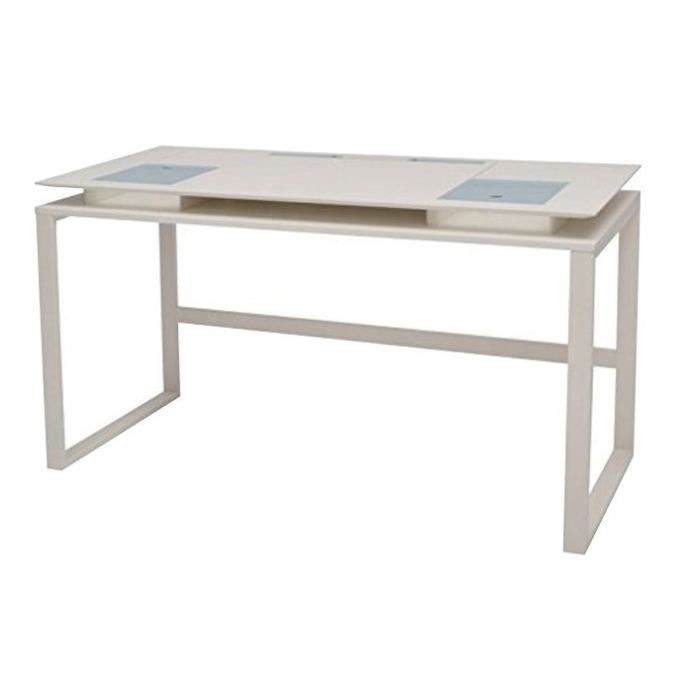 subleem bureau m tal bois laqu blanc 140 x 60 cm achat. Black Bedroom Furniture Sets. Home Design Ideas