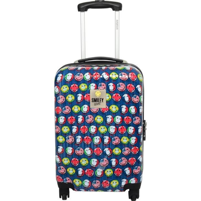 smiley world valise trolley 4 roues 48 cm low cost bleu. Black Bedroom Furniture Sets. Home Design Ideas