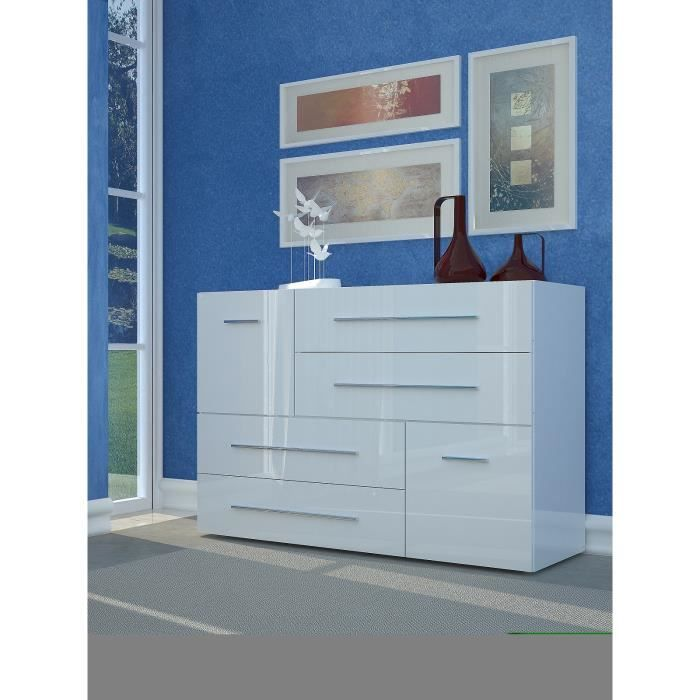 Lisboa commode chambre adulte style contemporain laqu Commode blanc laque