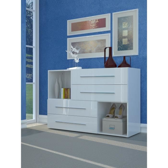 Lisboa commode 120 cm blanc laqu brillant achat vente for Ensemble de chambre blanc