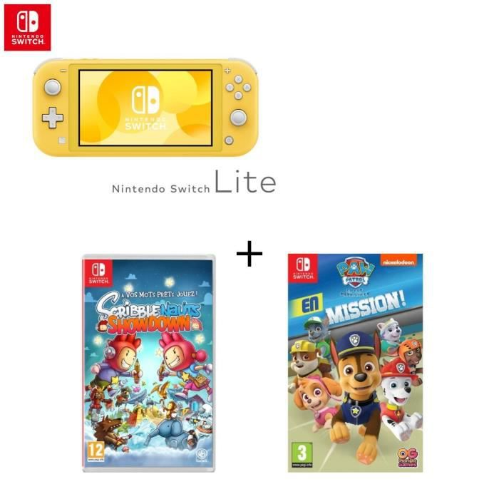 SORTIE CONSOLE NINTENDO SWITCH Console Switch Lite Jaune + Jeu Switch Scribblenau