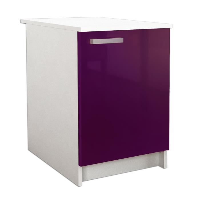 start caisson bas de cuisine l 60 cm aubergine brillant. Black Bedroom Furniture Sets. Home Design Ideas