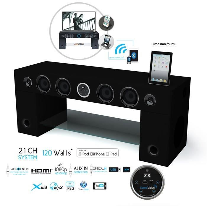 soundvision soundstand100 meuble tv hifi bluetooth achat vente meuble hifi int gr e. Black Bedroom Furniture Sets. Home Design Ideas