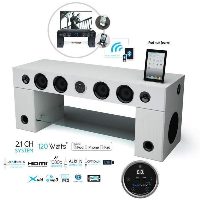 soundvision soundstand100 meuble tv hifi bluetooth meuble hifi int gr e avis et prix pas cher. Black Bedroom Furniture Sets. Home Design Ideas