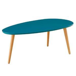 TABLE BASSE STONE Table basse ovale scandinave bleu paon laqué