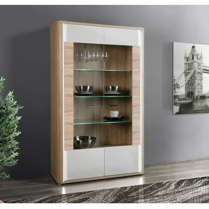 calimero vitrine 103cm blanc et d cor ch ne sonoma achat. Black Bedroom Furniture Sets. Home Design Ideas