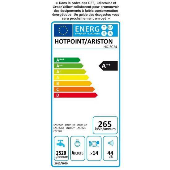 Hotpoint Hic 3c24 Lave Vaisselle Encastrable 14 Couverts 44 Db A L 60 Cm Moteur Induction
